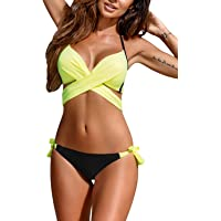 Women's Swimsuit Solid Color Wrap Front Halter Bikini Set Push up Bathing Suit Bandage Swimwear Padded 2 Piece