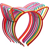 Candygirl Girl's Plastic Headbands Tiara Bunny Cat Bow Hairbands (10pcs mix colors Cat Ear Headbands)