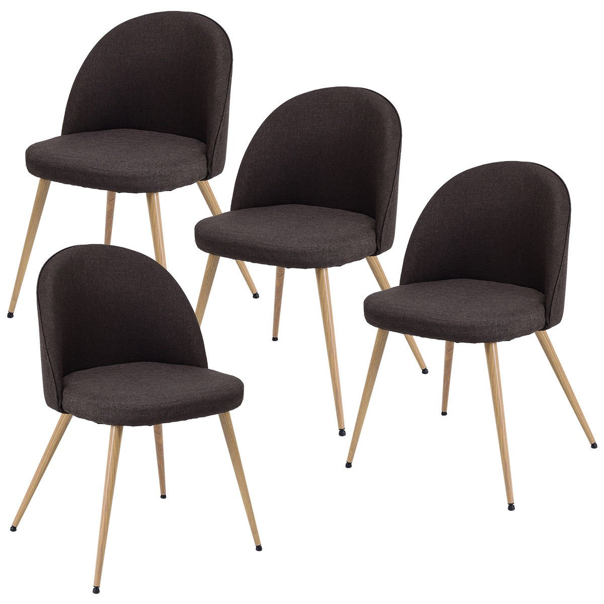 Fabric Cushion Seat Accent Arm Chair Dining Chair Metal Leg Living Room Set of 4