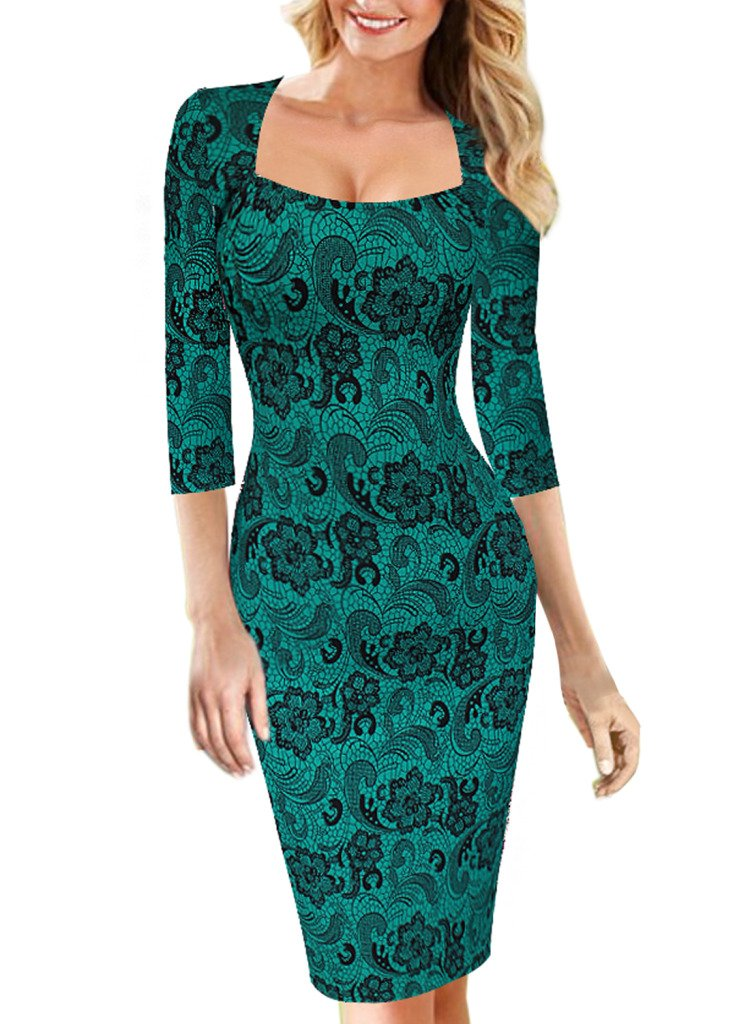 VfEmage Womens Sexy Elegant Vintage Floral Flower Print Bodycon Pencil Dress 2019 Green M
