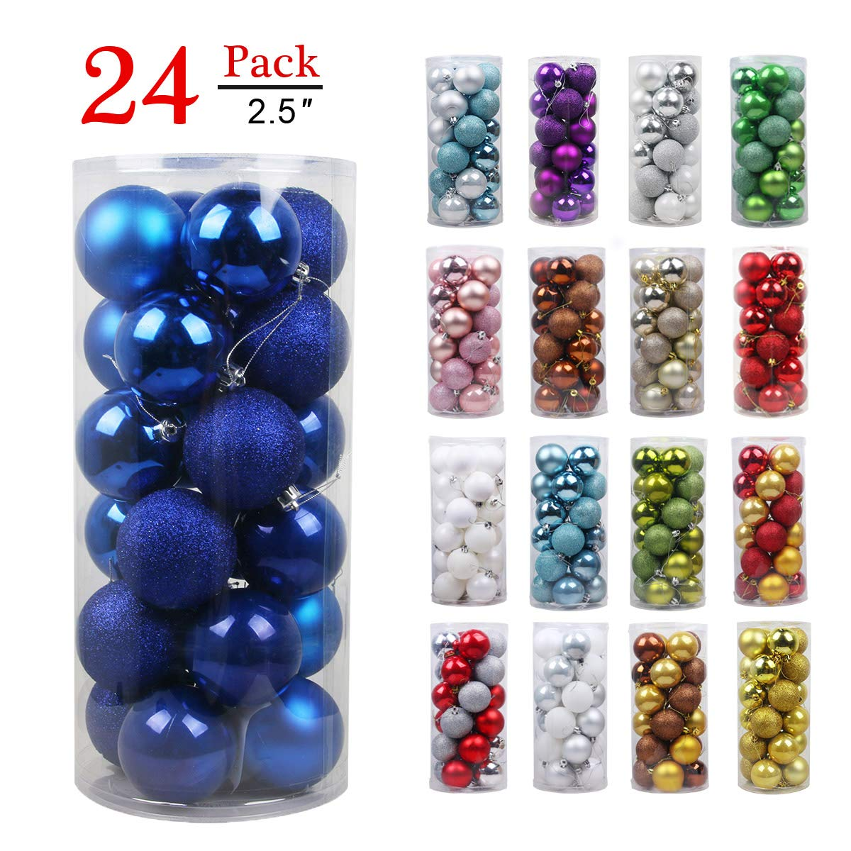 Christmas Balls Ornaments for Xmas Tree-Shatterproof Christmas Tree Decorations Large Hanging Ball Blue 2.5''