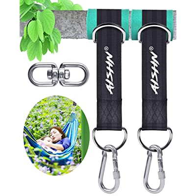 AISHN Tree Swing Straps Hanging Kit, Adjustable Hammock Straps(Set of 2), 2200Lbs Break Strength. 5ft Long with Tree Protector Sleeves, Swivel Strong Stainless Hook, Rustproof Screw Lock Carabiners: Garden & Outdoor