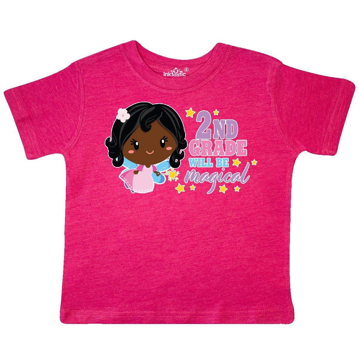inktastic 2nd Grade Will Be Magical with Black Haired Fairy Toddler T-Shirt