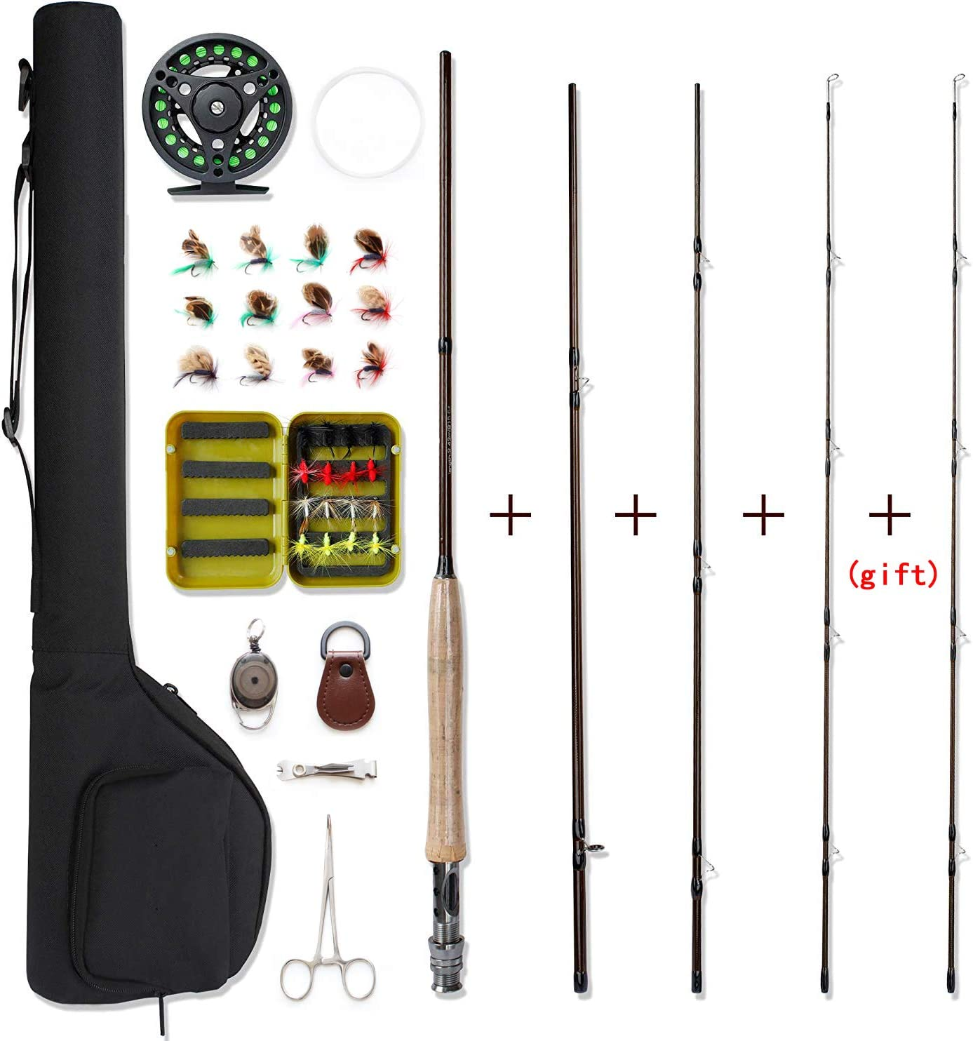 Amazon Com Netangler Fly Fishing Rod And Reel Combo 4 Piece Fly Fishing Rod 5wt Aluminum Fly Reel 28 Pieces Flies Kit With Free Rod Tip Backing And Cloth Carry Bag Sports