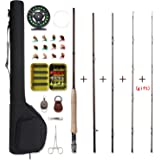 NetAngler Fly Fishing Rod and Reel Combo 4-Piece Fly Fishing Rod 5wt Aluminum Fly Reel 28 Pieces Flies Kit with Free Rod…