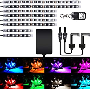 AMBOTHER 8Pcs Motorcycle LED Light Kit Strips Multi-Color Accent Glow Neon Lights Lamp Flexible with Remote Controller for Harley Davidson Honda Kawasaki Suzuki Ducati Polaris, 1 Year Warranty