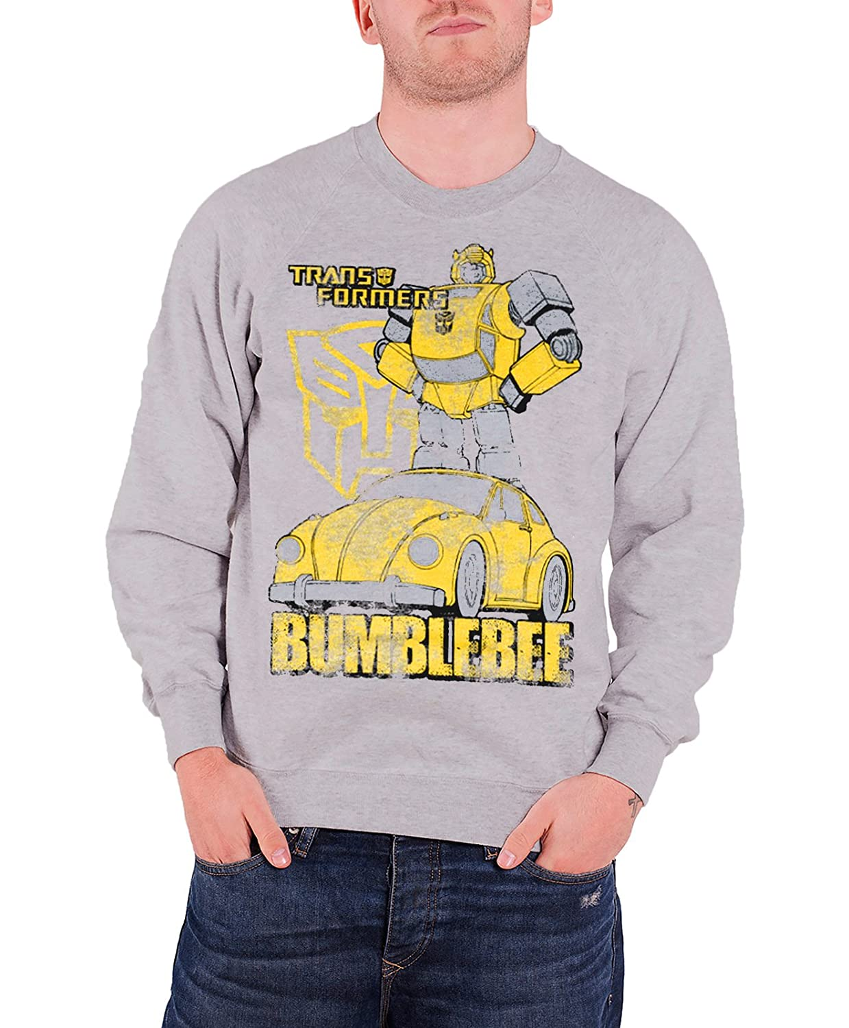Transformers Sweatshirt Bumblebee Distressed new Official Mens H.Grey