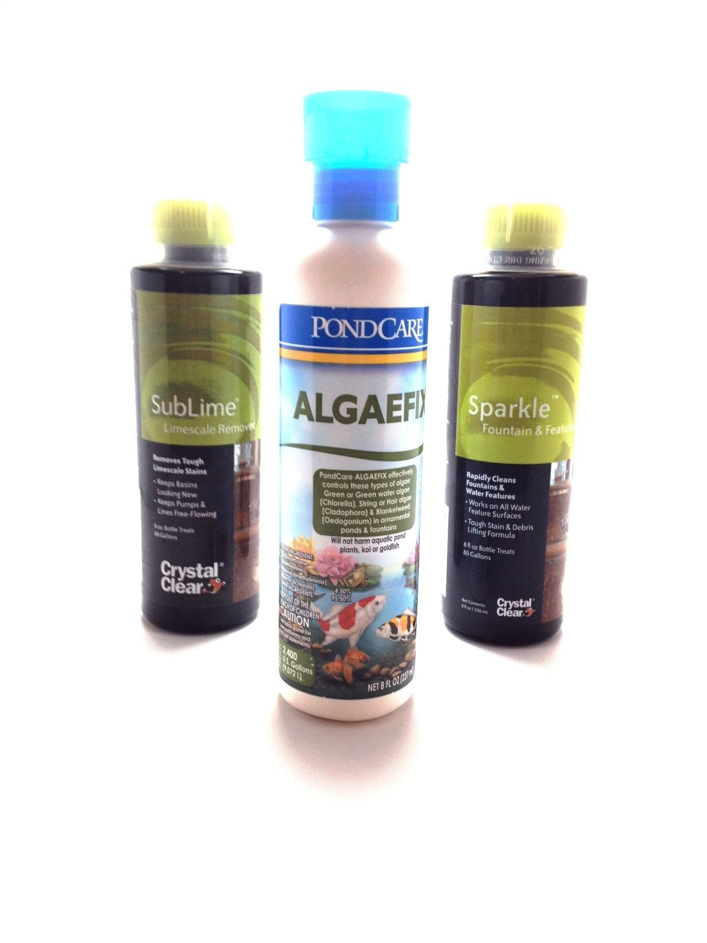 Fountain & Water Feature Water Treatment 3 Pack CrystalClear Sparkle, Sublime, And PondCare Algaefix FTCPSSA8OZ