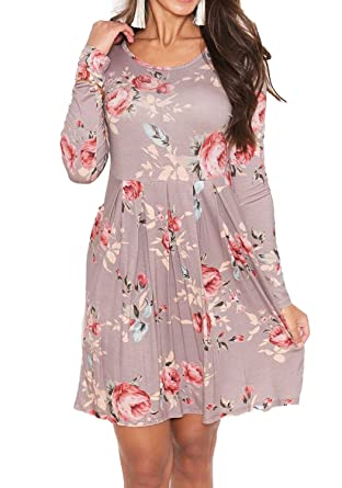 132545aee3e Simier Fariry Women Round Neck Long Sleeve Floral Print Pleated T-Shirt  Dress Khaki XL