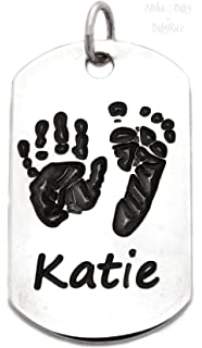 f9b05118a Personalised Sterling Silver Dogtag Pendant Baby Handprint Footprint Pet  Pawprint Jewellery