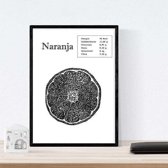 Nacnic Poster de Naranja. Láminas de frutas y verduras. Tamaño A3
