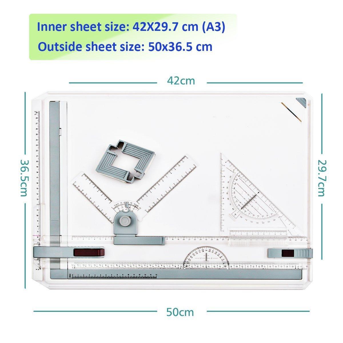 A3 Zeichenplatte Zeichentisch Zeichnen Paralleles Lineal für ...