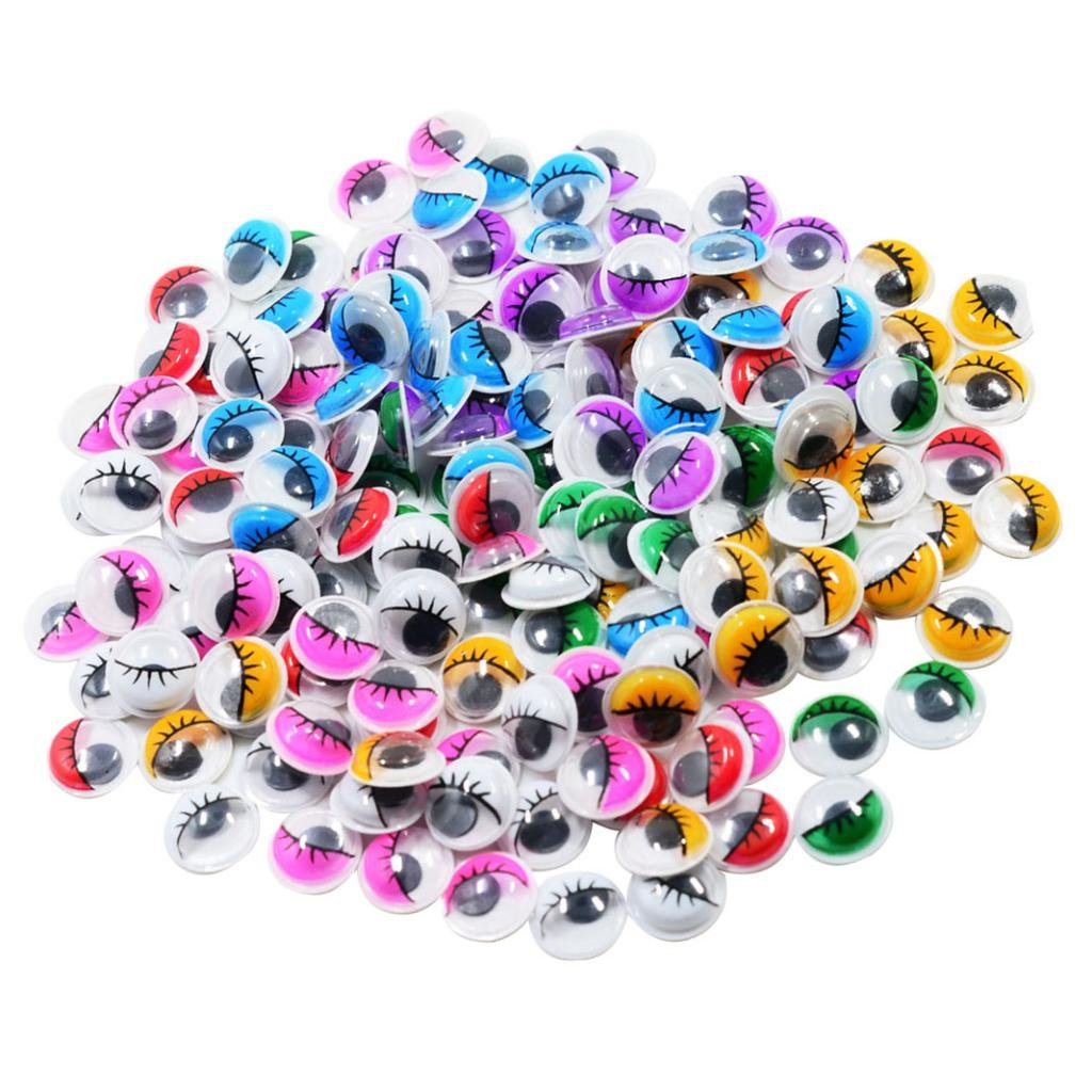 SM SunniMix 168-Pieces 12 mm Wiggle Eyes Multi Color Sticky Eyes Black with Self Adhesive Googly Eyes for Craft Making Scrapbooking Decorations