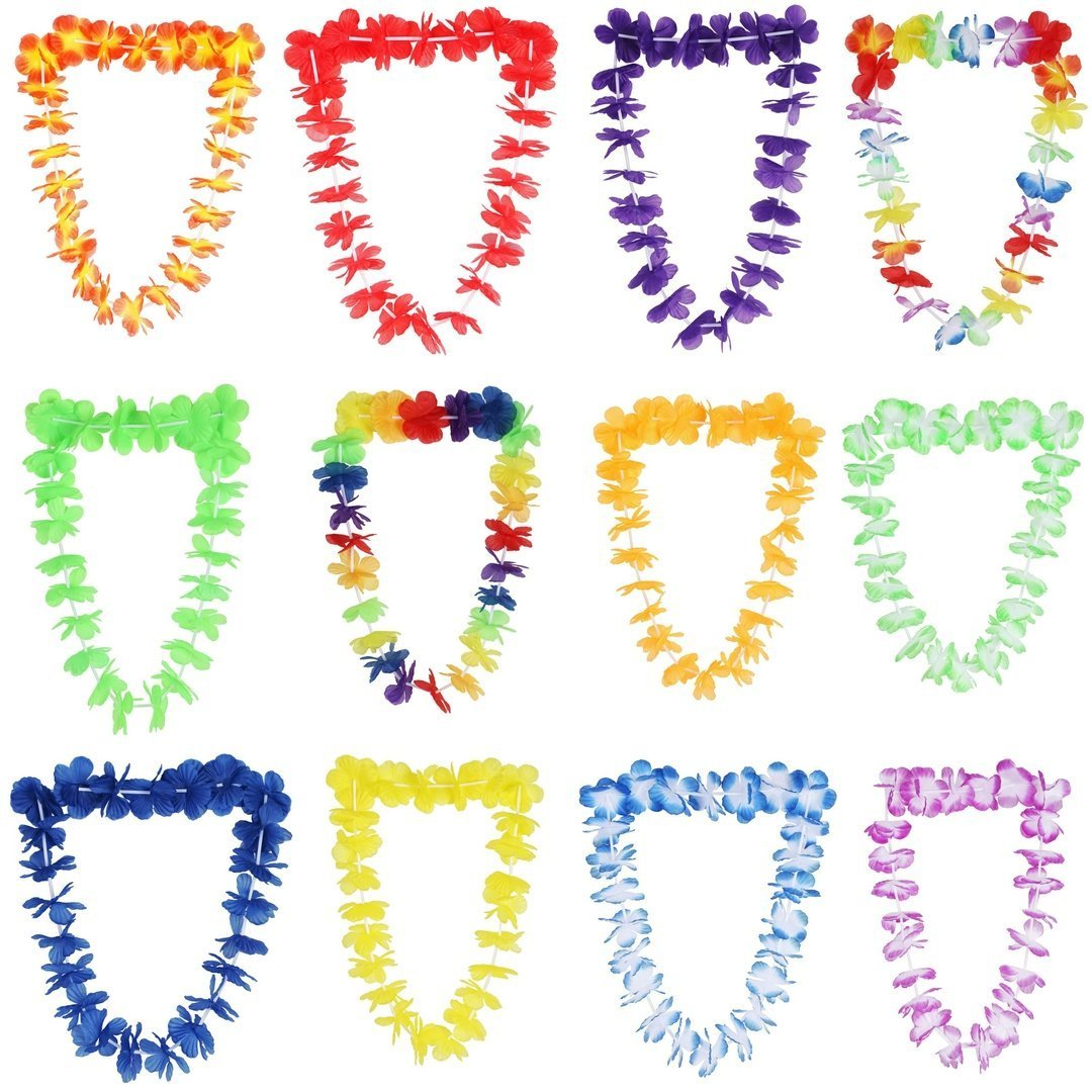 MIMIEYES Tropical Hawaiian Luau Collar de Flores Collares de Colores Guirnaldas de Verano para Playa Tema Fiesta Favores 36 Piezas