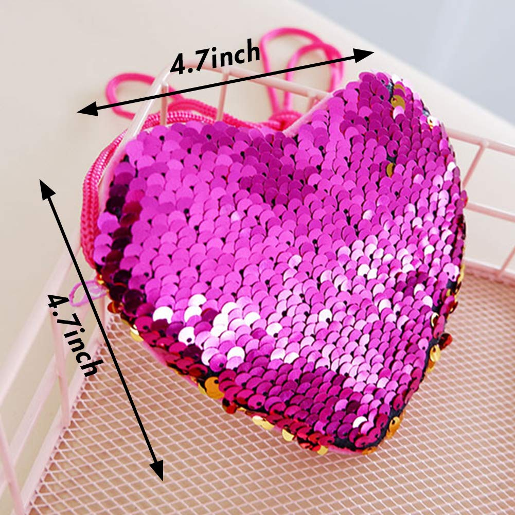 LovesTown LovesTown Heart Sequin Coin Purses,6 pcs Different Colors Coin Wallets Magic Sequins Mini Wallets for Girls Party Favors
