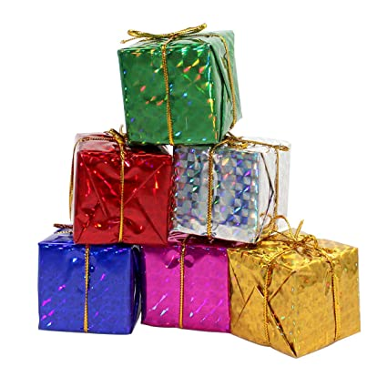 gift boxes assorted colors miniature 2 inches fonxian 24pcs foil christmas decoration ornaments - Christmas Gift Box Decorations