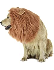 LUUFAN Lion Mane Wig for Dog and Cat Costume with Ears Pet Adjustable Comfortable Fancy Lion Hair Dog Clothes Dress for Halloween Christmas Easter Festival Party Activity (Dog- Light Brown)