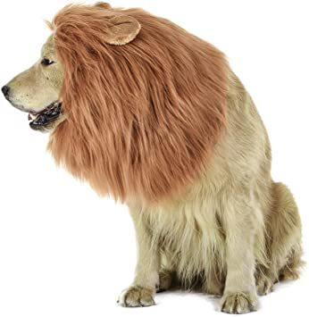 LUUFAN Lion Mane Wig for Dog and Cat Costume with Ears Pet Adjustable Comfortable Fancy Lion Hair Dog Clothes Dress for Halloween Christmas Easter Festival Party Activity Dog- Light Brown