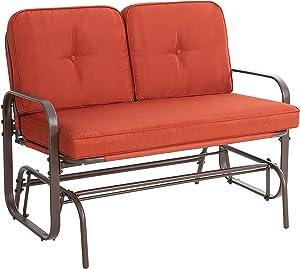 SUNLEI Outdoor Furniture Swing Glider Patio Rocking Glider Garden Loveseat Steel Frame Porch w/Armrest, UV- and Water-Resistant Cushions(Orange
