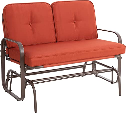 Walsunny Loveseat Outdoor Patio Glider Rocking Bench,Porch Furniture Glider,Wrought Iron Chair Set with Cushion (Red)