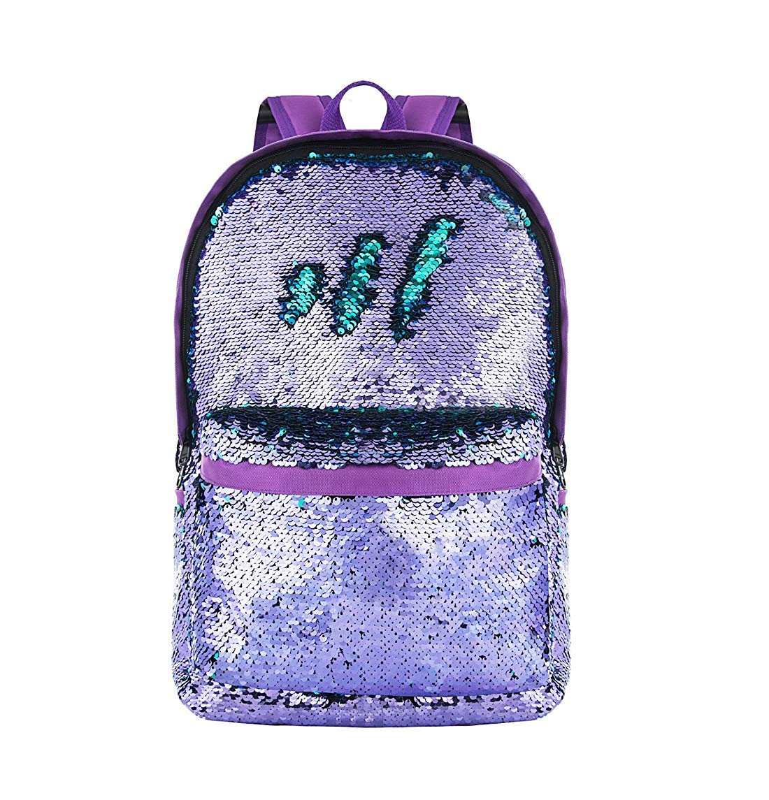 Amazon.com | MQiong Reversible Sequins School Backpack Bag for Girls Boys Fashion Lightweight Travel Backpacks Purple/Teal | Kids Backpacks