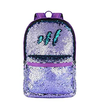 Amazon.com | MQiong Reversible Sequins School Backpack Bag for Girls Boys Fashion Lightweight Travel Backpacks Purple/Teal | Kids Backpacks