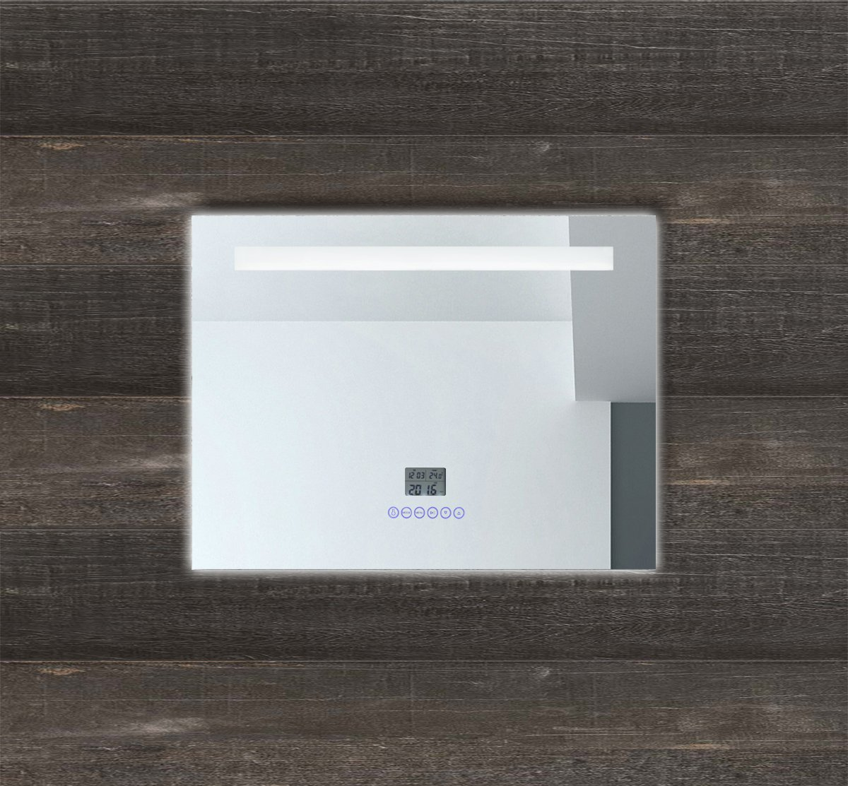 LED Multimedia Badspiegel mit Beleuchtung Touch Uhr Radio MP3 USB ...