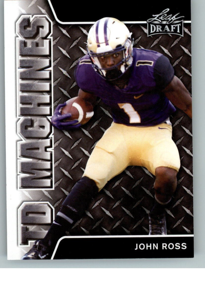 JOHN ROSS 2017 LEAF DRAFT TD MACHINES ROOKIE CARD INSERT! NFL FASTEST 40 YARD DASH - 4.22 SEC! W/H TOP LOADER!