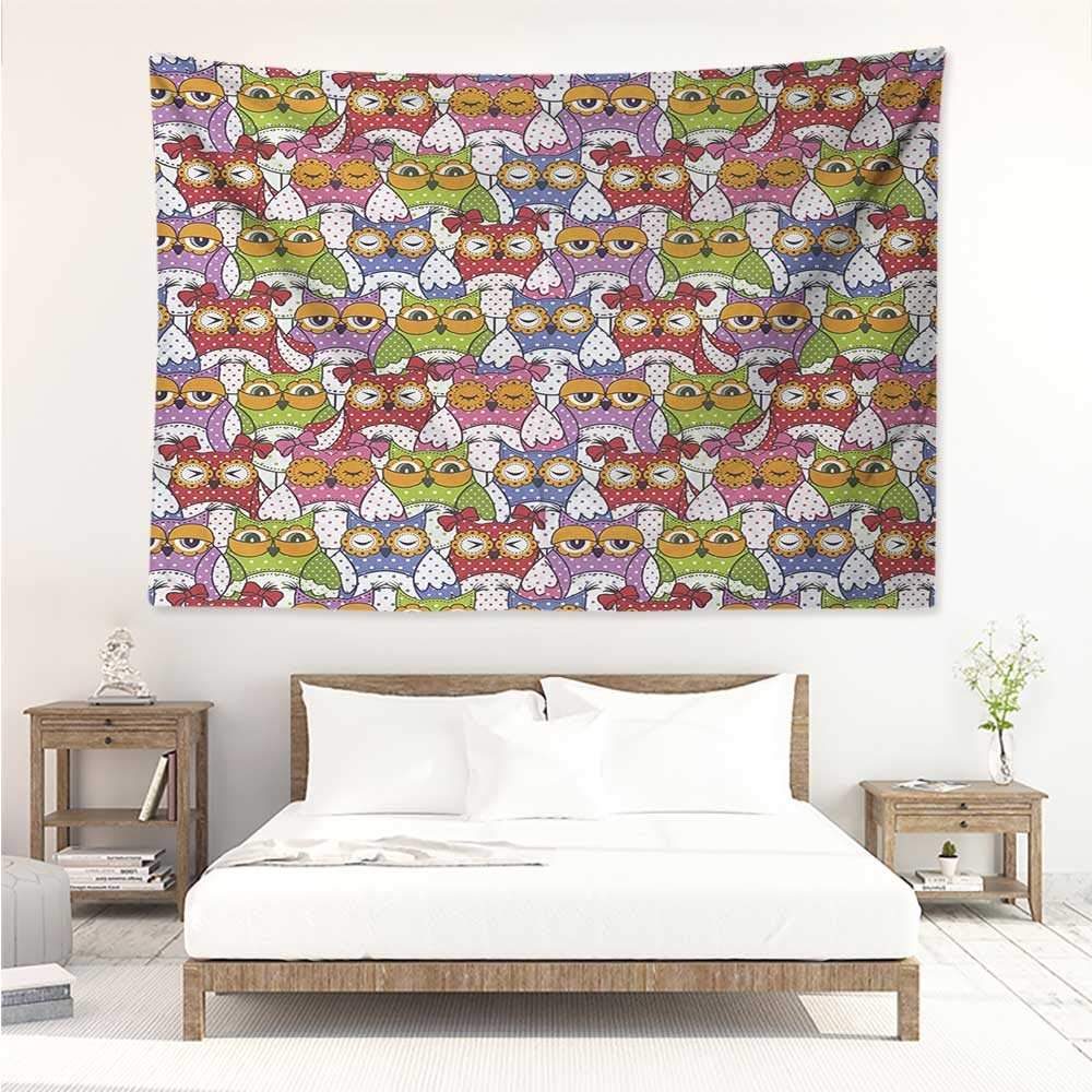 Owl,Wall Hanging Ornate Owl Crowd with Different Sights and Polka Dots Like Matryoshka Dolls Fun Retro Theme 91W x 60L Inch Bed Sheet Picnic Tapestry Multi by alisos