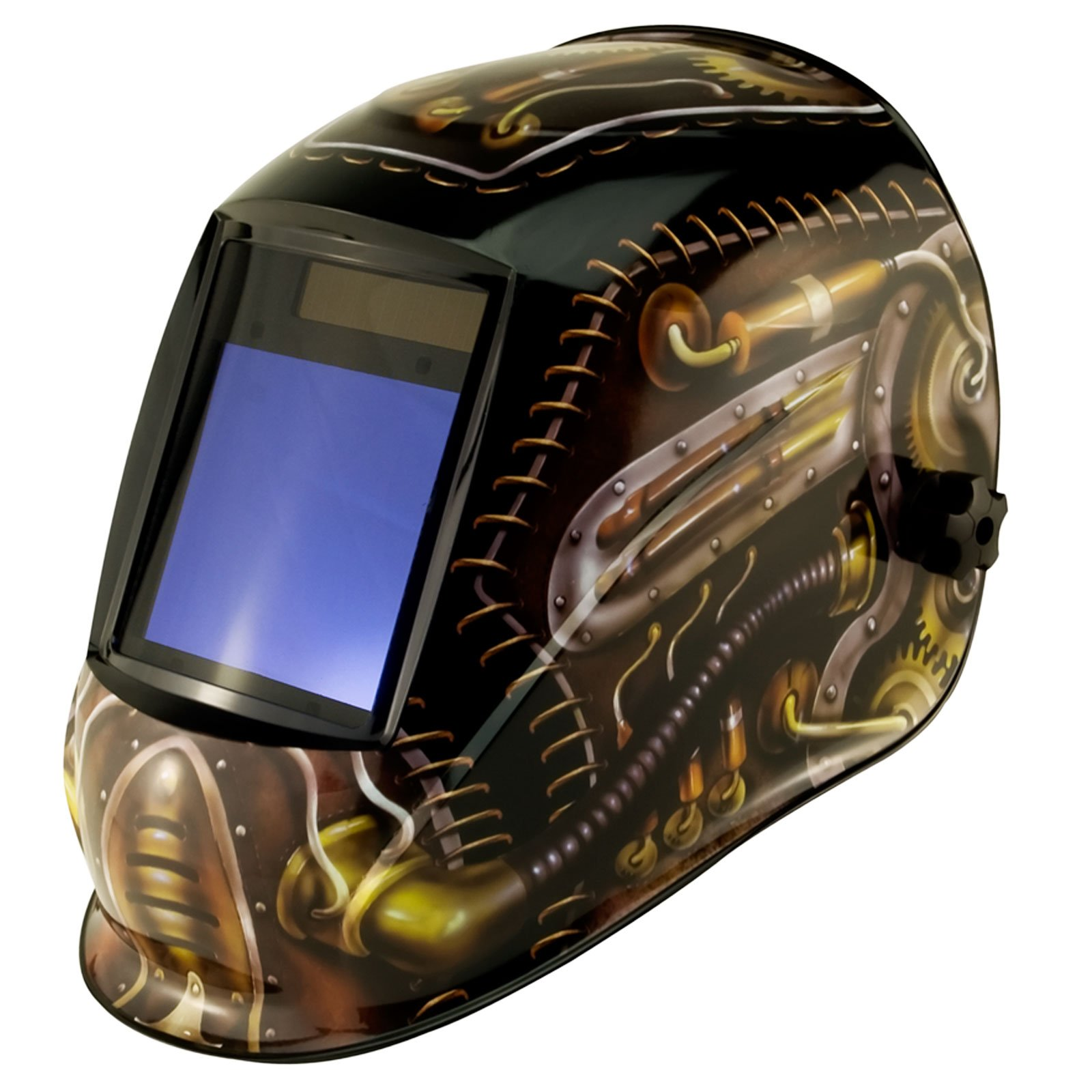 True-Fusion Big-1 Steampunk IQ2000 Solar Powered Auto Darkening Welding Helmet Hood Grind mask with Massive View Area (98mm x 87mm - 3.85x3.45 inches) FREE Storage Bag, Spare Lenses and Spare Sweatband included