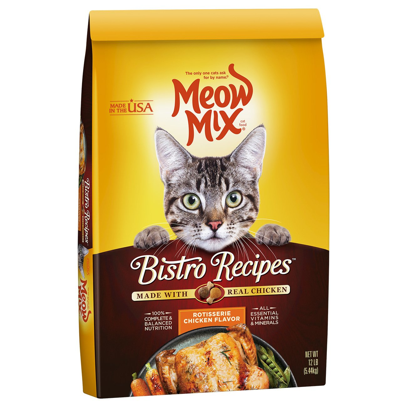 Meow Mix Bistro Recipes Rotisserie Chicken Flavor Dry Cat Food - 12 lb