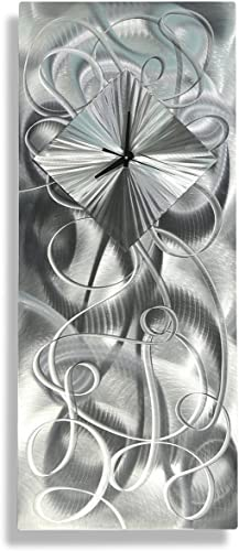 Statements2000 Modern Contemporary All Natural Silver Hand-Crafted Clock Sculpture – Abstract Metal Home Office Decor Wall Accent Art – Light Source by Jon Allen – 24-inch