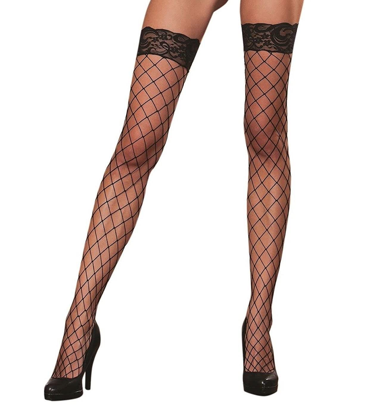 a0fd22b422 Dreamgirl Fence Net Thigh Highs. Large net hold ups. Black. One Size   Amazon.co.uk  Clothing