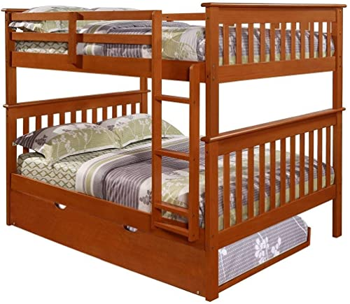 Donco Kids Mission Bunk Bed Light Espresso/Full/Full/W/Twin Trundle Bed