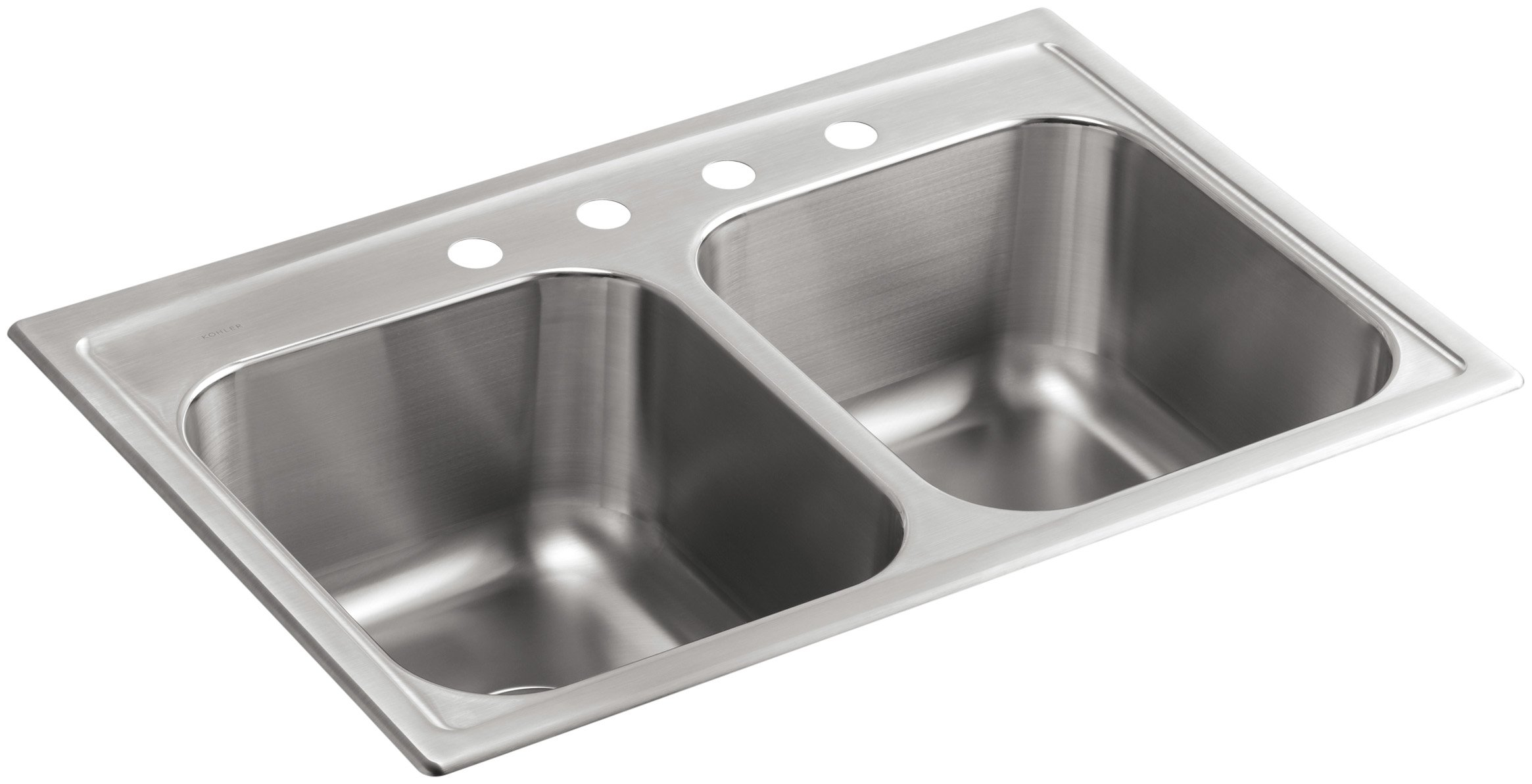 KOHLER K-3847-4-NA Toccata Top-Mount Double-Equal Bowl Kitchen Sink with 4 Faucet Holes, Stainless Steel