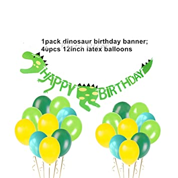 Baby Foil Balloons Paper Flowers Dinosaur Party Decorations Jungle First 1St Birthday Supplies