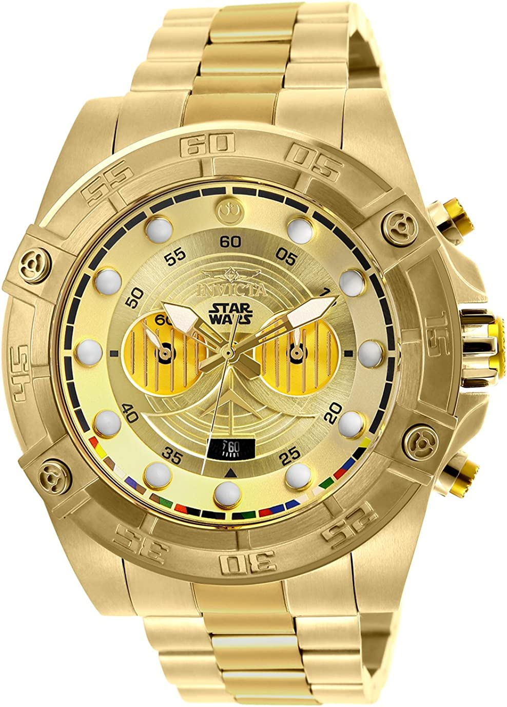 'Invicta Men's 'Star Wars' Quartz Stainless Steel Casual Watch, Color: Gold (Model: 26525)