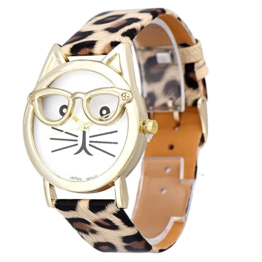 SKY Mujer Reloj de la correa de gato gafas Cute Glasses Cat Women Analog Quartz Dial Wrist Watch (Caqui): Amazon.es: Relojes