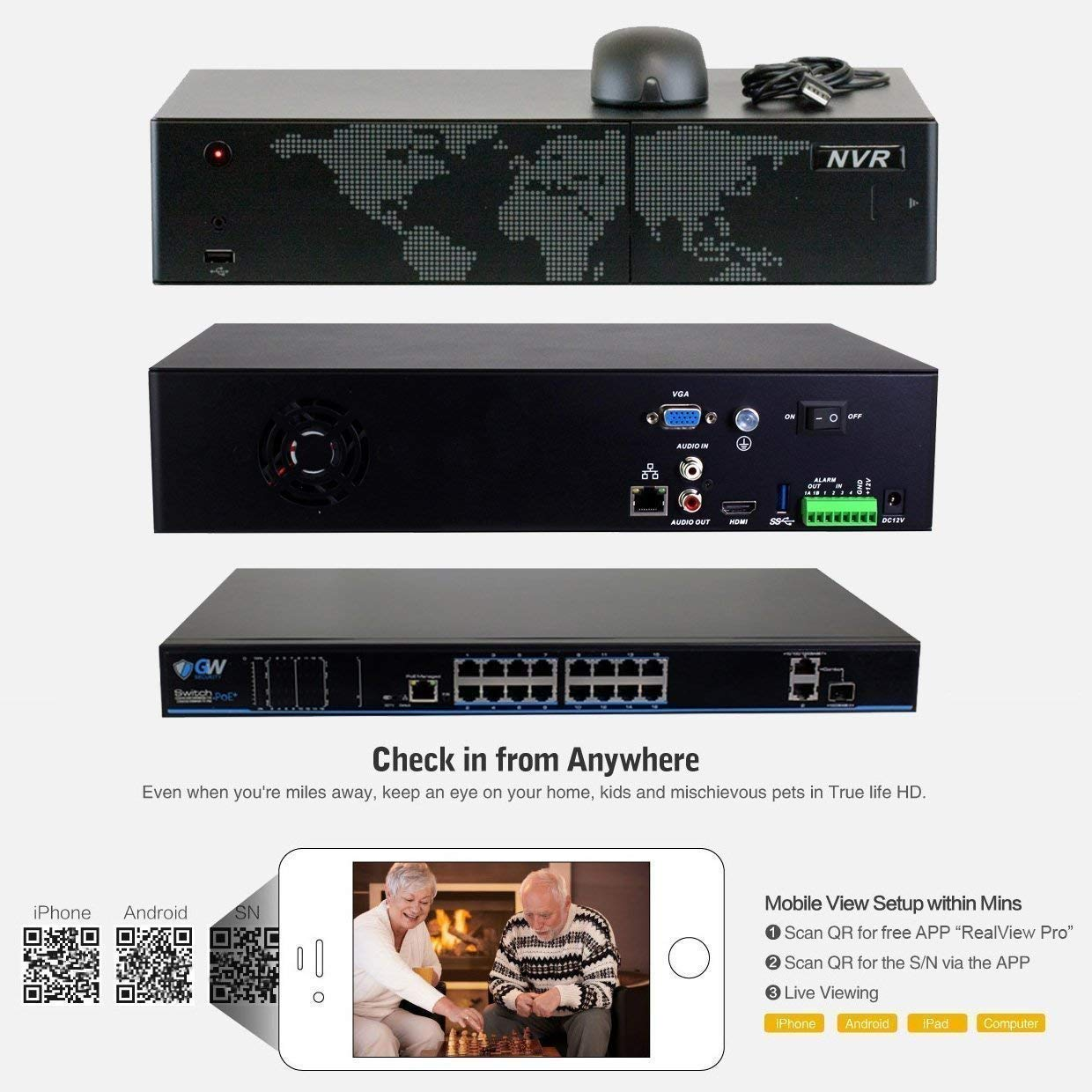 8 Channel H.265 4K NVR GW Security AutoFocus 4K 8MP IP Camera System 4 x 8MP UltraHD 3840x2160 Bullet POE Security Camera 4X Optical Motorized Zoom Outdoor Indoor