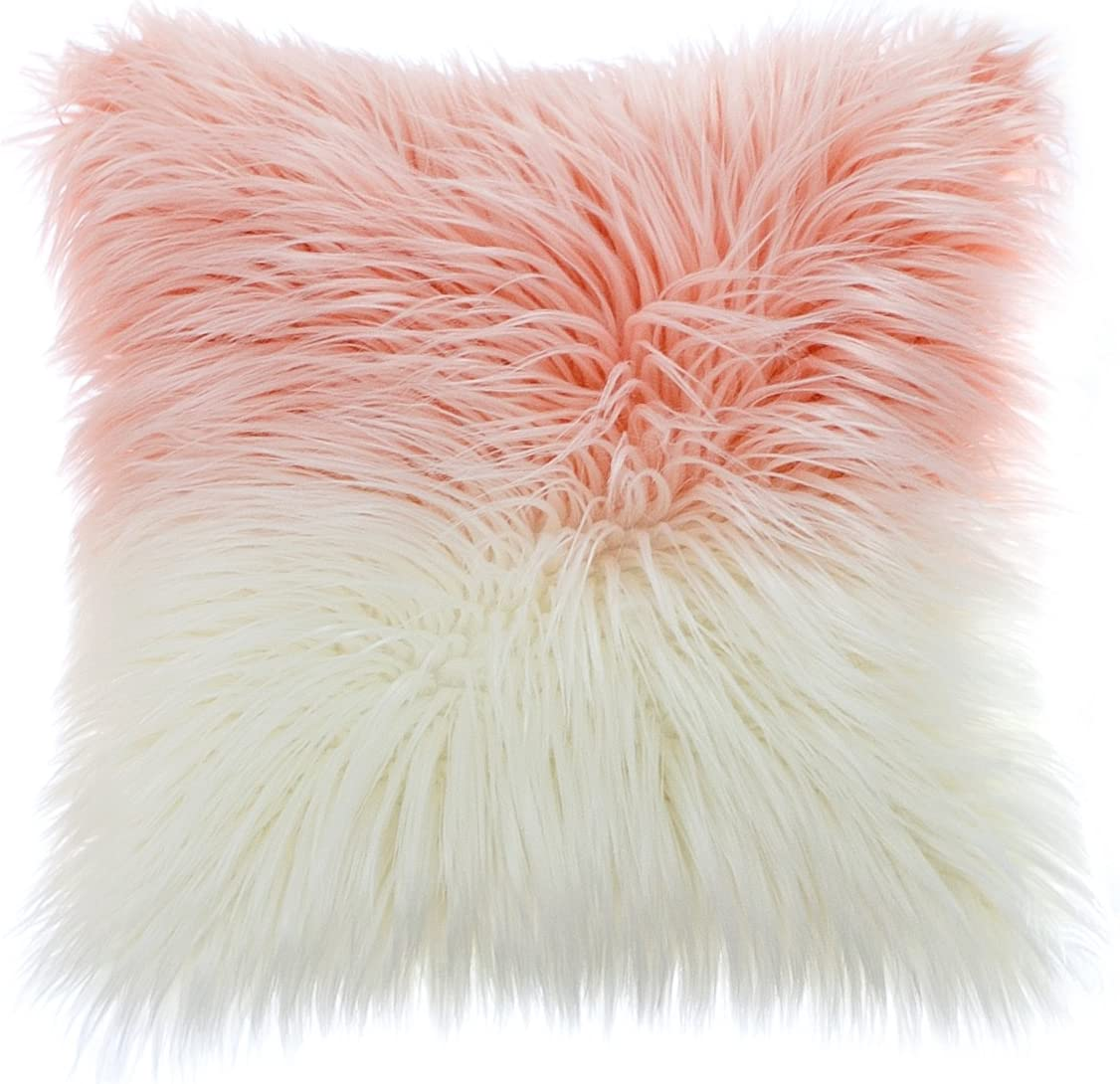 OJIA Deluxe Home Decorative Super Soft Plush Mongolian Faux Fur Throw Pillow Cover Cushion Case (18 x 18 Inch, White Pink)
