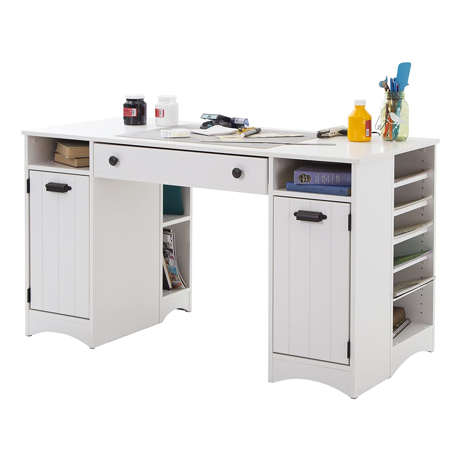 Amazon.com: Artwork Craft Table With Storage   Large Work Surface    Multiple Storage Spaces   Pure White By South Shore: Arts, Crafts U0026 Sewing