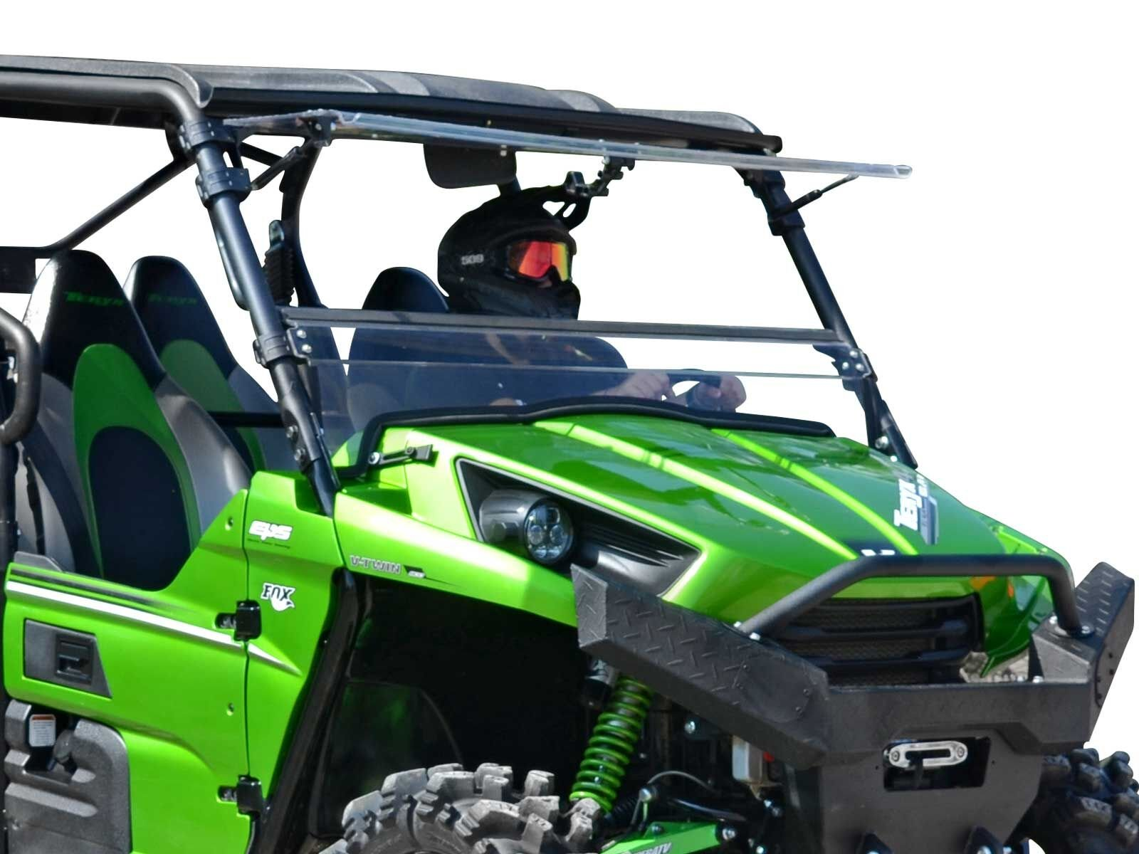 SuperATV Heavy Duty Scratch Resistant Flip Windshield for Kawasaki Teryx 750 4/800 / 800 4 (2012-2015) - Can be Set to Open, Vented, or Closed - Easy to Install! by SuperATV.com