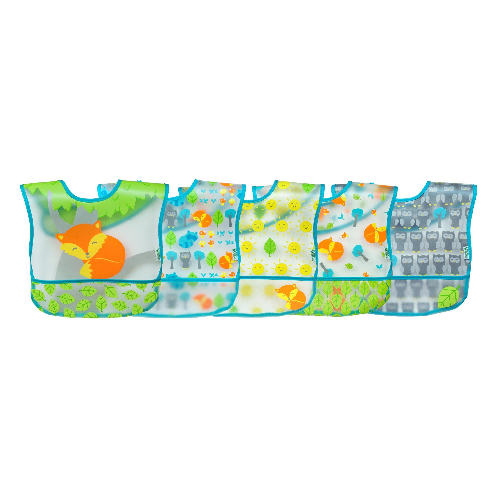 green sprouts Wipe-Off 5 Piece Bibs, Aqua Fox