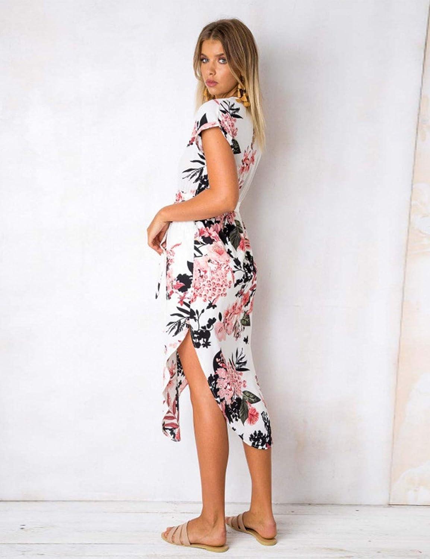 LOMON Womens Casual Dresses Summer Floral Geometric V-Neck Short Sleeve Midi Dress with Belt