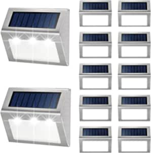 4pcs 3LED Solar Stair Light Lamps Outdoor Courtyard Pathway Street Nightlight UK