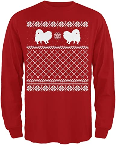 Pomeranian Ugly Christmas Sweater Red Adult Long Sleeve T-Shirt