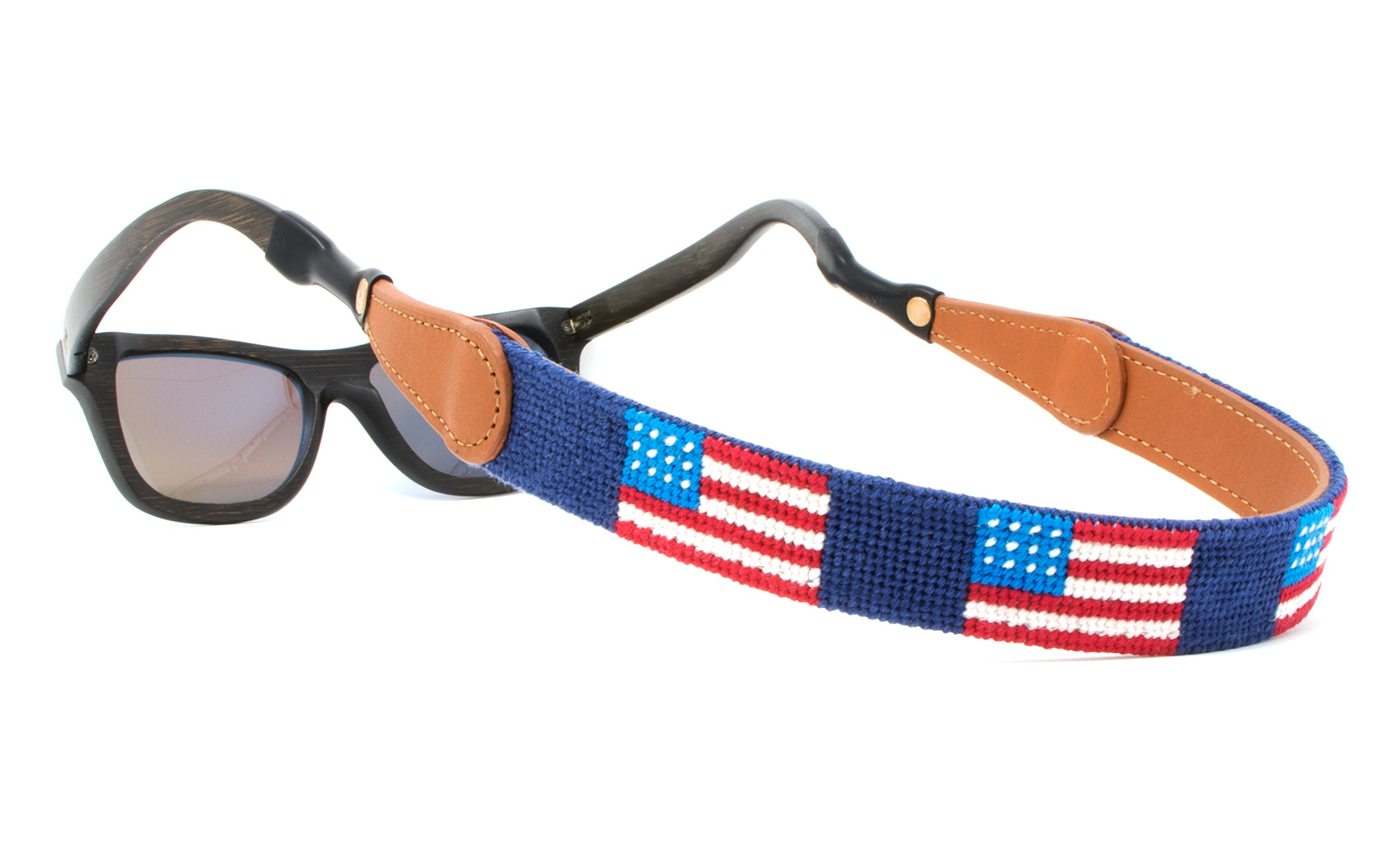 Needlepoint Sunglass Strap Sunglass Retainer by Huck Venture (American Flag)