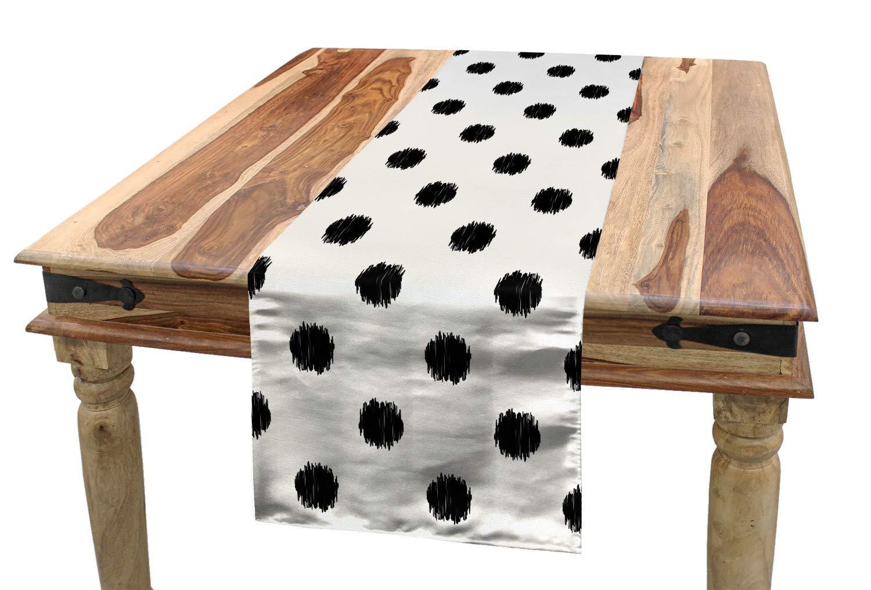 Grandi Pois Nero Bianco ABAKUHAUS Geometrico Runner da Tavola Decorativo Lavabile in Lavatrice e Facile da Pulire 40 x 180 cm
