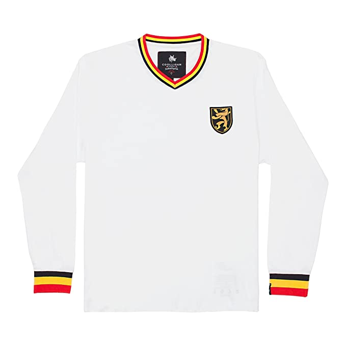 Coolligan - Camiseta de Fútbol Retro 1972 Belgium Away - Color - Blanco - Talla -