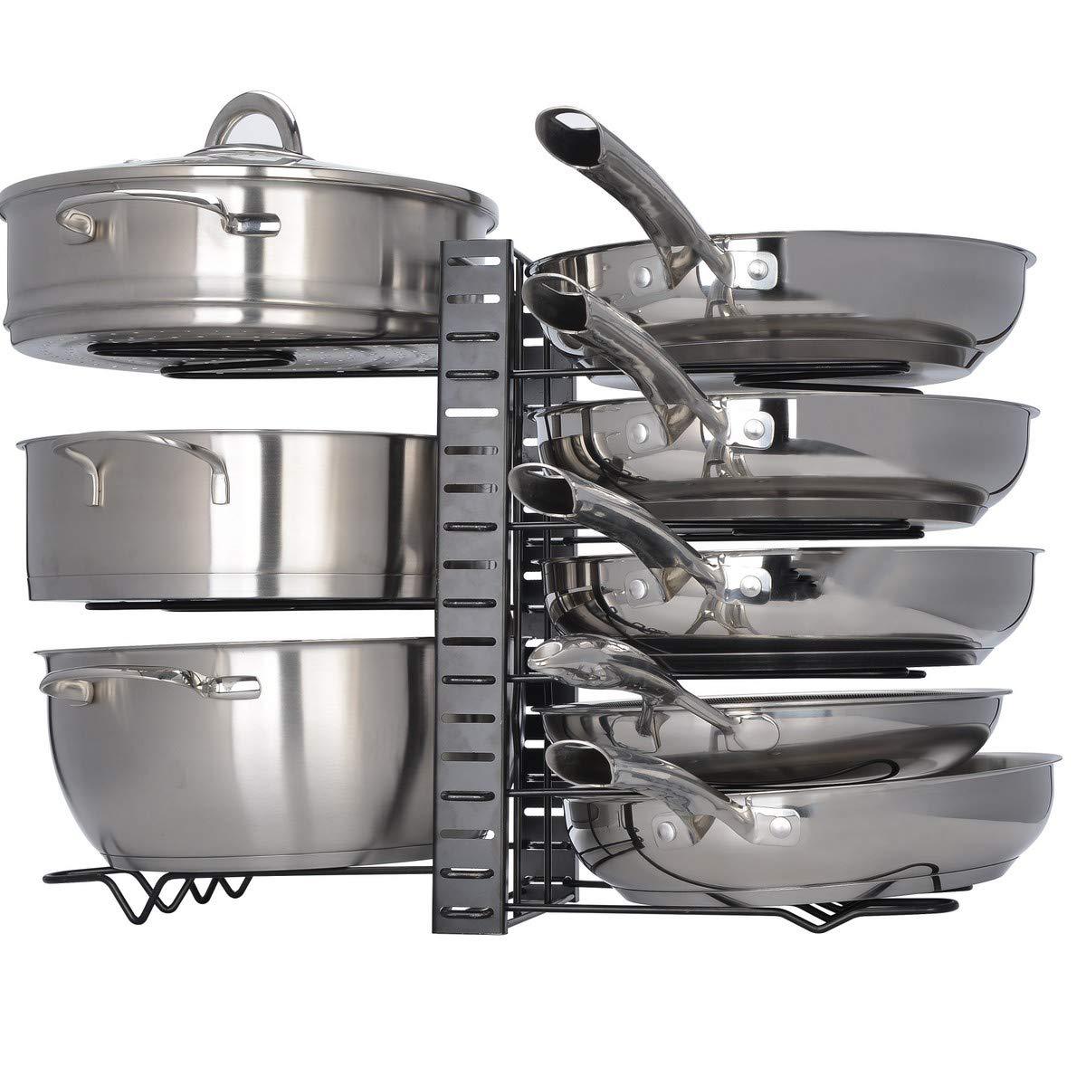 Mecete Pot Rack Organizer, 3 DIY Methods, Height and Position are Adjustable 8+ Pots Holder, Black Metal Kitchen Cabinet Pantry Pot Lid Holder